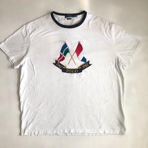 POLO RALPH LAUREN | White Cross Flags Tee (XL)